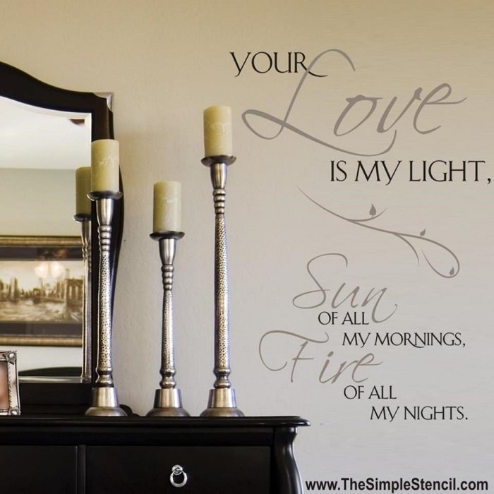 Romantic bedroom wall quotes we love - The Simple Stencil
