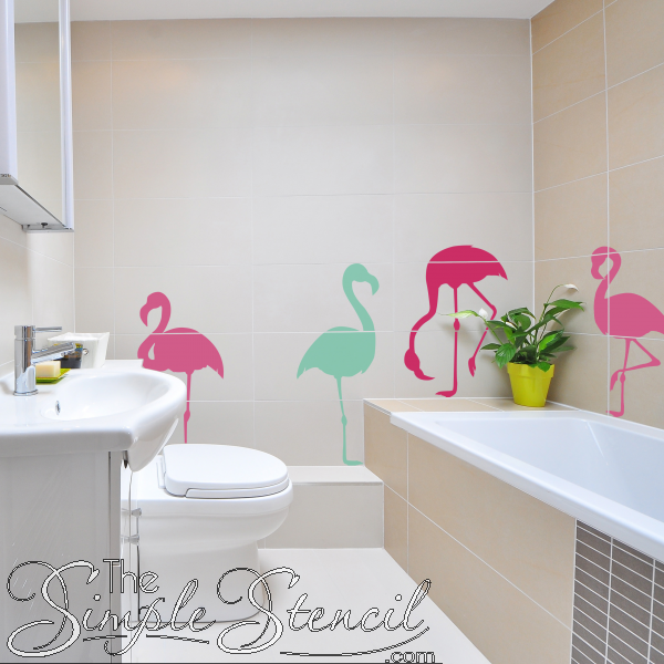 Flock Of Flamingos Wall And Window Decals From The Simple Stencil